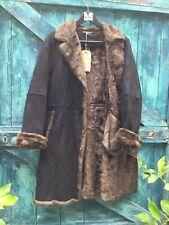 Womens Coat Size M Black Shearling Faux Suede Fur Lined Raincoat UTEX Vintage VG