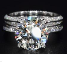 4 Ct White Round Moissanite Engagement Wedding Ring Set Solid 14k White Gold