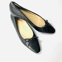 Ann Taylor Quilted Leather Ballet Flats Pointed Toe Bow Black 1/2 in. heel -  8M