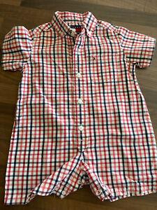 Baby Boy's Designer TOMMY HILFIGER Summer Short Romper Outfit 3-6 m 💙MINT