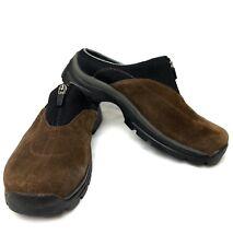 Teva Women's Sz 6.5 Brown/Black Suede Slip-On Zip Front #6447 Mules Clogs Shoes