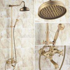"Antique Brass Bathroom 8"" Rainfall Shower Faucet Set Bathtub Mixer Tap Ers103"