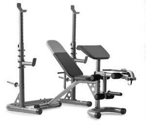 Adjustable Bench with Olympic Squat Rack and Preacher Pad, 610 Lb Capacity