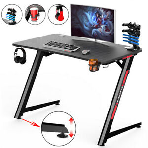 Ergonomic Gaming Desk Computer PC Laptop Table With Headphone Hook Cup Holder UK