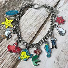 Disney Little Mermaid Ariel Lots of Charms Silver Tone Bracelet