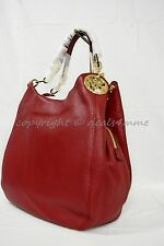 NWT Michael Kors Fulton Large Logo Shoulder Bag / Tote in Cherry -Venus Leather.