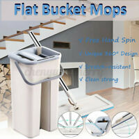 Self Cleaning Drying Mop Bucket Flat Floor Free Hand Wash Cleaner Tool + Pads UK