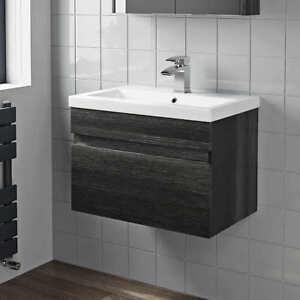 600mm Bathroom Vanity Unit Basin Storage Wall Hung Drawer Cabinet Furniture Grey