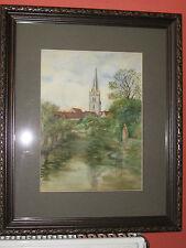 Late 19th Century Watercolour, English Church, Rare watercolour Art,