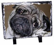 Pug Dog 'Yours Forever' Photo Slate Christmas Gift Ornament, AD-P64ySL