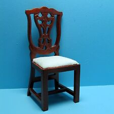 Dollhouse Miniature Kitchen / Dining Room Chair Mahogany w/ White Seat ~ T3281
