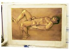 Male Nude in oil on gessoed jute by Hugo Ferreira