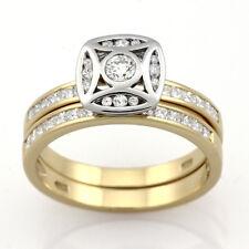 9ct Yellow Gold & Rhodium Diamond Ring Set