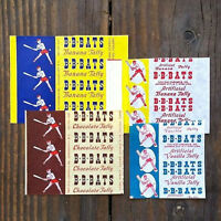 4 Vintage Original Different B-B-BATS TAFFY CANDY Baseball Wrappers Unused NOS