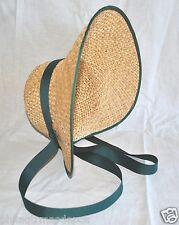"""Ladies Bonnet Straw w/1"""" Ribbon Ties - Multi-Fit One Size Fit All - Civil War"""