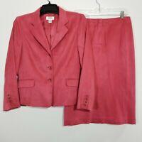 Talbots Womens Career Skirt Suit Suede Feel Coral Blazer 12 & Straight Skirt 10