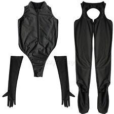 Women PVC Wet Look Faux Leather Romper Bodycon Bodysuit Jumpsuit Party Club #M