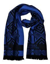 Versace Collection Men's Geometric Block Pattern Wool Scarf Black Royal Blue