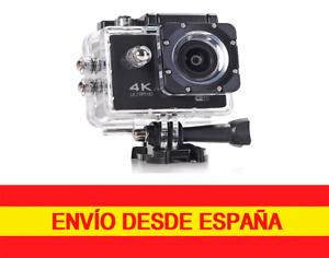 Cámara deportiva  4K ultra HD Con Control Remoto Carcasa acuática y accesorios