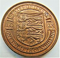 1923 Jersey George V, 1/12 Shilling, KM.14, Grading About UNCIRCULATED.