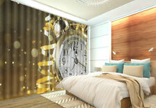 Yellow Ribbon Clock 3D Curtains Blockout Photo Printing Curtains Drape Fabric