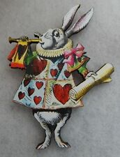 Alice in Wonderland White Rabbit Brooch or Scarf Pin Accessories Wood new
