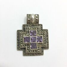 Large Amethyst Marcasite Cross Slide Pendant for Necklace Sterling Silver 925...