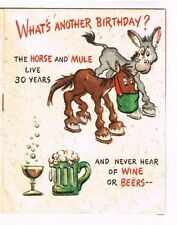 Vintage Birthday Card Mule Horse Kitty Cow Sheep Wine Old Age Book Hallmark