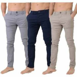 Mens Crosshatch New Chinor Designer Slim Fit Tapered Chinos Jeans Trousers BNWT