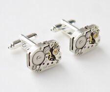 oblong vintage watch mechanism cufflinks 20mm silver