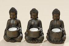 3ER- SET BUDDHA TEELICHTHALTER DEKO STATUE FIGUR SKULPTUR FENG SHUI