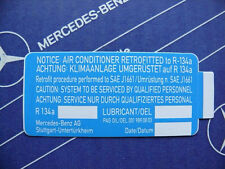 Original Mercedes Klima-Umrüstung Aufkleber für R134a für W123, W126, W124, W201