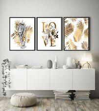 A4 Set of 3 Modern Wall Art Prints For Home Living Room Bedroom - Botanical