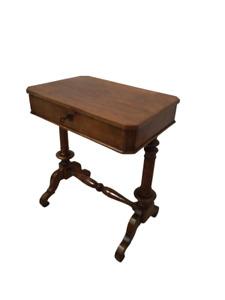 Tavolino da lavoro in noce con cassetto - mobiletto - comodino - fine 800