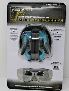 Walkers GWP-RSEM Pack N Heat Slim Shooter Combo Chrome Electronic Women's Muffs