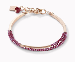 COEUR DE LION BRACELET WATERFALL ROSE GOLD AND SMALL GLASS RED BEADS RRP £75