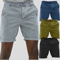 New Washed Chinos Shorts Mens Summer Smart Casual Work Half Pants Twill Cotton