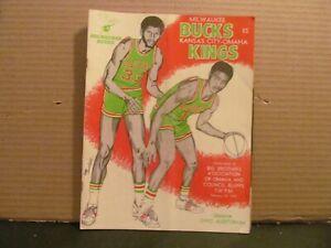 2-22 1973 NBA BASKETBALL GAME PROGRAM MILWAUKEE BUCKS @ KC OMAHA KINGS