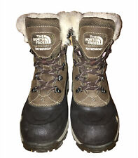 North Face PrimaLoft Waterproof Brown Snow Boots Faux Fur Lining Womens Sz 8