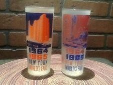 2 Vintage 1964/1965 World's Fair Frosted Glasses-Hall of Science/Pool of Industr