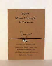 Wish String 'Dinosaur' Charm, Handmade Wish Bracelet, party bag favours, Gift!