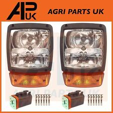 PAIR JCB Telehandler Loader Loadall Headlights Head Light Headlamps & Plugs