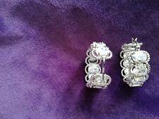 beautiful full hoop crystal earrings boxed