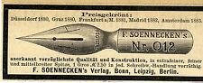 F.Soennecken's Verlag Bonn PREISGEKRÖNTE FEDER NR. 012 Annonce 1883
