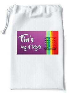Sensory / Fidget Toy Storage Bag - Personalised - 28 x 19.5cm - Drawstring