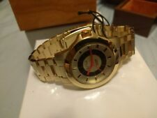 $170 NEW Paul Frank Smart Patrol Women's GOLD Watch Stainless Steal+Wood Case