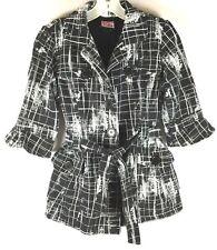 Womens Juniors LA Kitty Jacket Black White Soft Cozy Cute Coat Sz M Cotton Blend