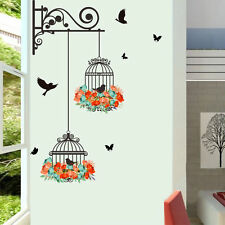 Birdcage Vine Flower Bird Wall Stickers Mural Vinyl Art Home Decoration DIY