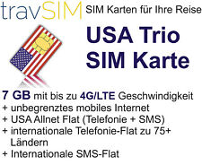 USA SIM Karte 7 GB 4G/LTE + internationale Tel.-Flat zu 75+ Ländern