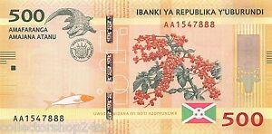 Burundi 500 Francs 2015 Unc Pn 50a